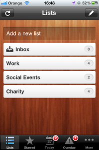 Wunderlist - Add a list
