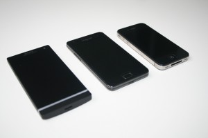 Compare the size of the Sony Xperia S with the iPhone 4 and Samsung Galaxy S2
